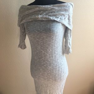 Body-hugging, Gray, Off-the-Shoulder Sweater Dress